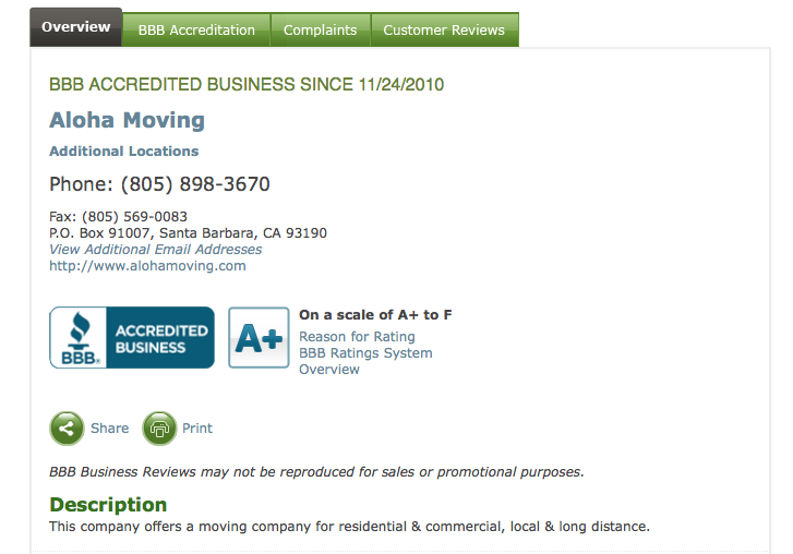 Aloha Moving Better Business Bureau