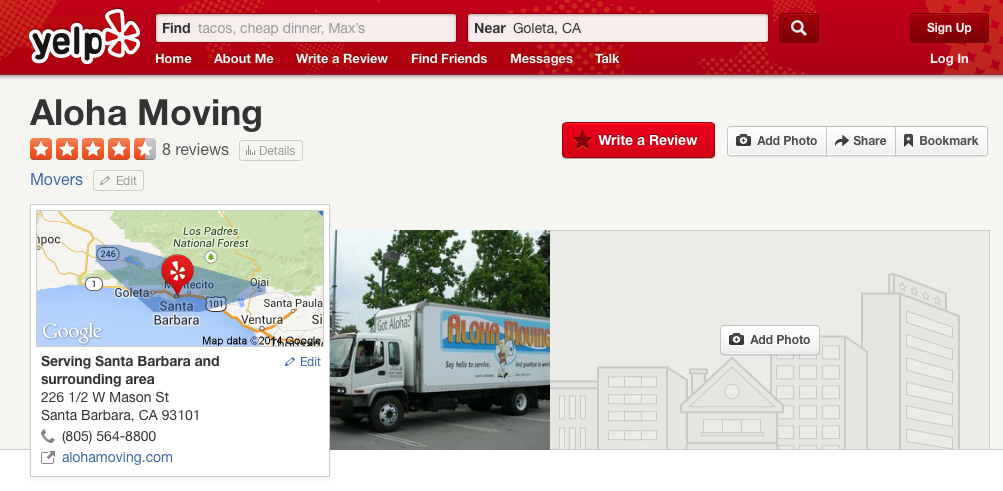 Aloha Moving of Santa Barbara Yelp Reviews